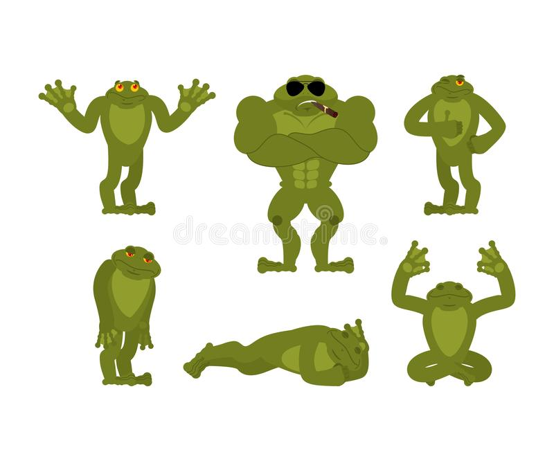 Frog set poses. Toad happy and yoga. Anuran sleeping and angry. guilty and sad. Vector illustration vector illustration