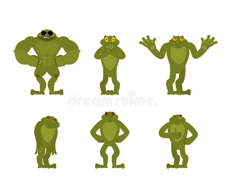 Frog set poses. Toad happy and yoga. Anuran sleeping and angry. guilty and sad. Vector illustration royalty free illustration