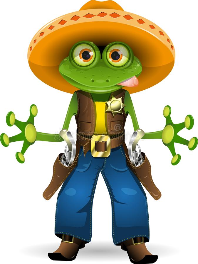 Frog sheriff. Illustration of a frog dressed as sheriff stock illustration