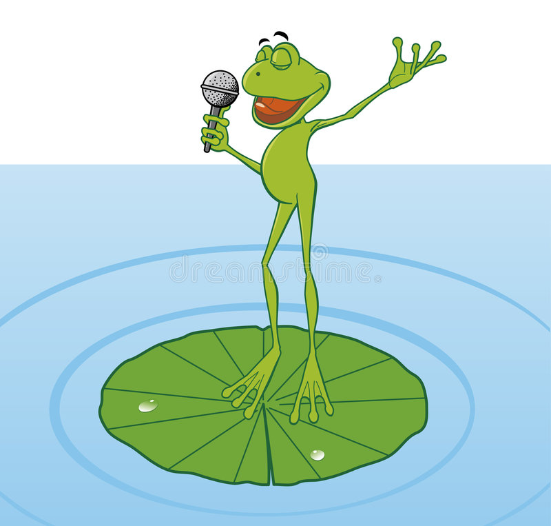 Download Frog singing in the pond stock vector. Image of plant - 5040010