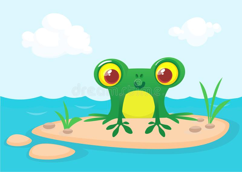 The frog sits on a large rock. Cute vector illustration of a cartoon style vector illustration