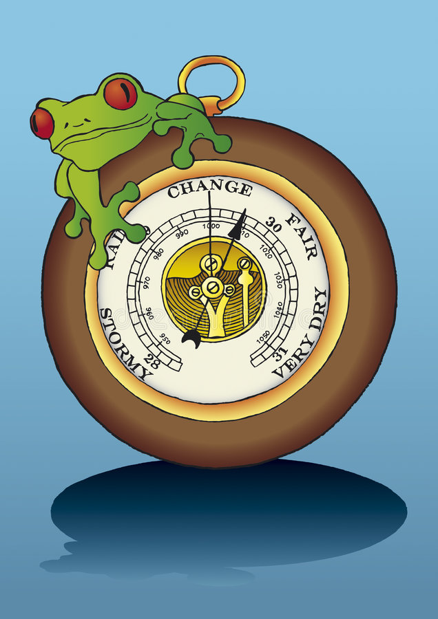 Frog sitting on barometer. The frog is sitting on the barometer, Frog sitting on barometer, vector graphics illustration, frog, meteorology, forecast, barometer vector illustration