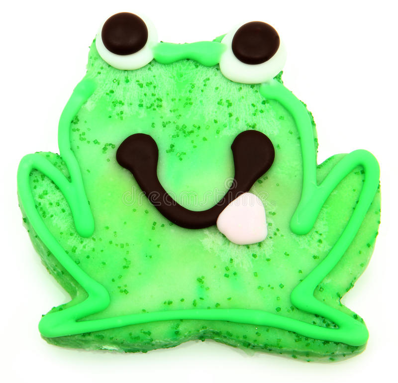 Frog Sugar Cookie over White royalty free stock photography
