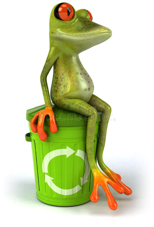 Frog with a trash can royalty free illustration
