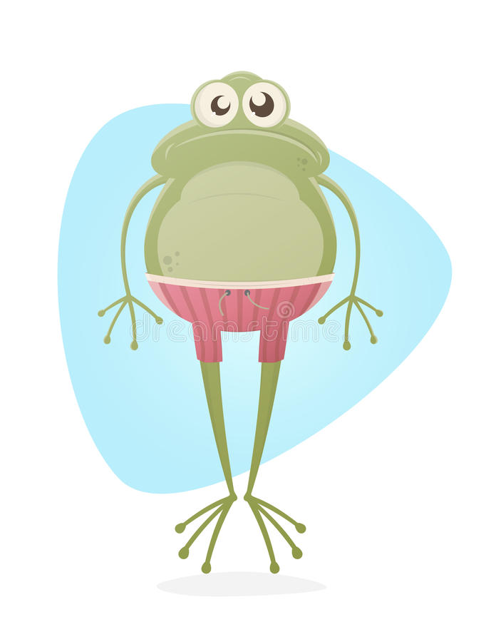 Frog with trunks. Funny clipart of a frog with trunks royalty free illustration