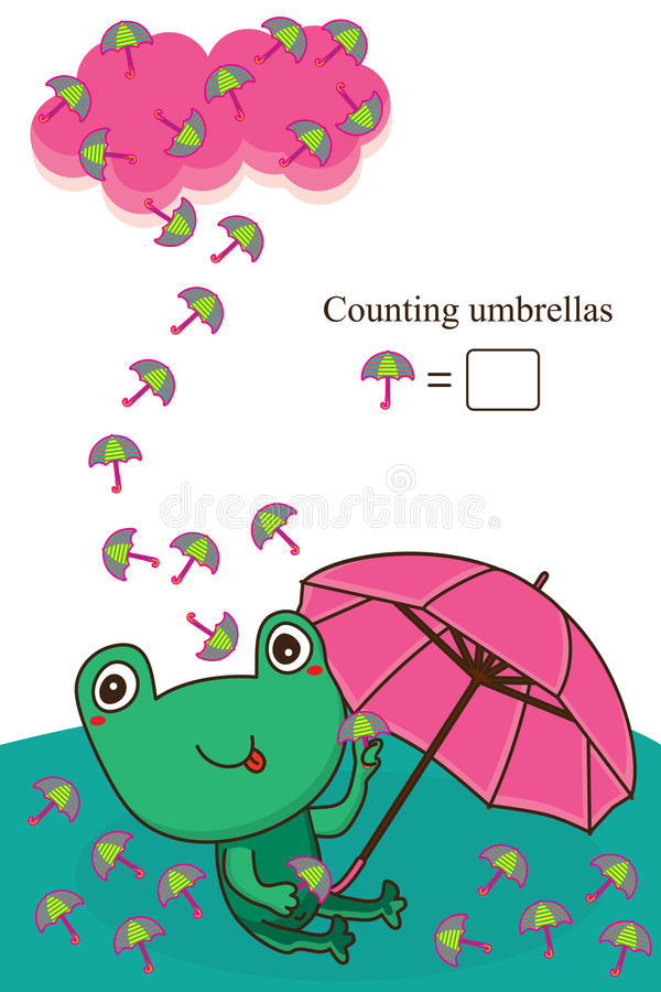 Frog umbrella counting card vector illustration