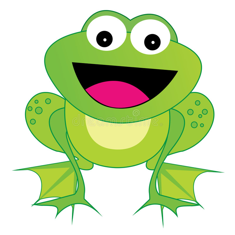 Frog Vector - eps. Illustration of a cute little happy frog isolated on white background