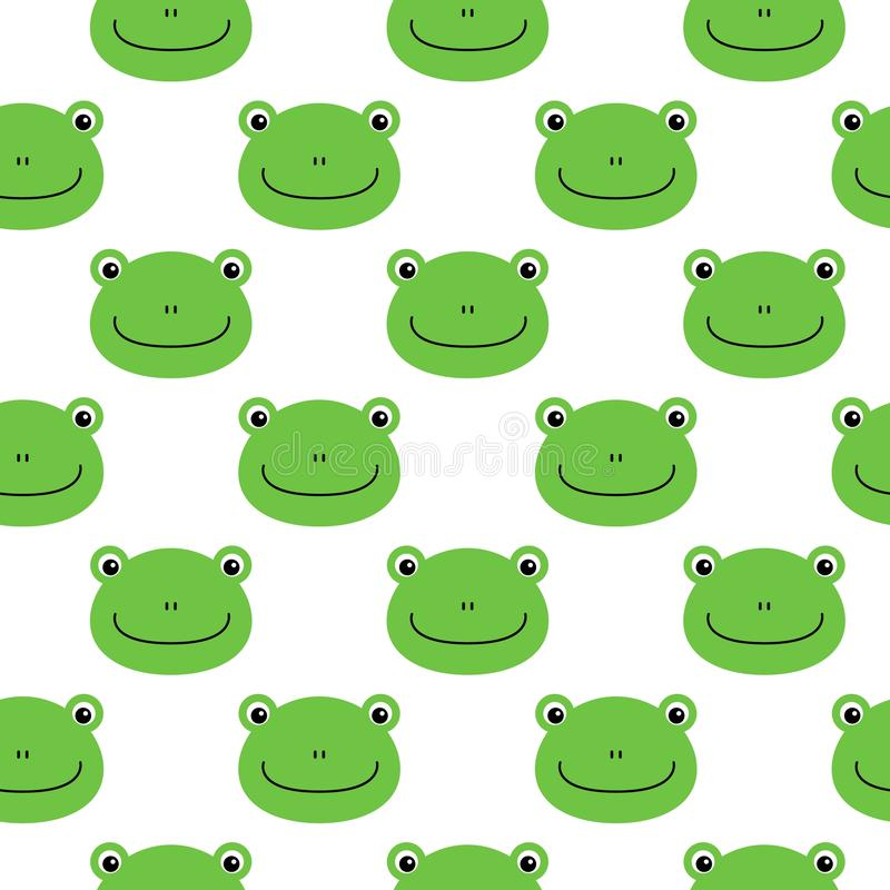Frog vector pattern, seamless pattern, flat frog cartoon background stock illustration