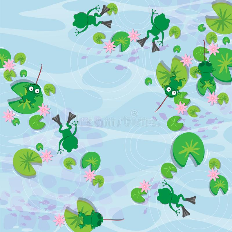Frog in swamp seamless pattern vector illustration