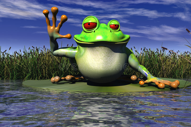 A Frog Waving vector illustration