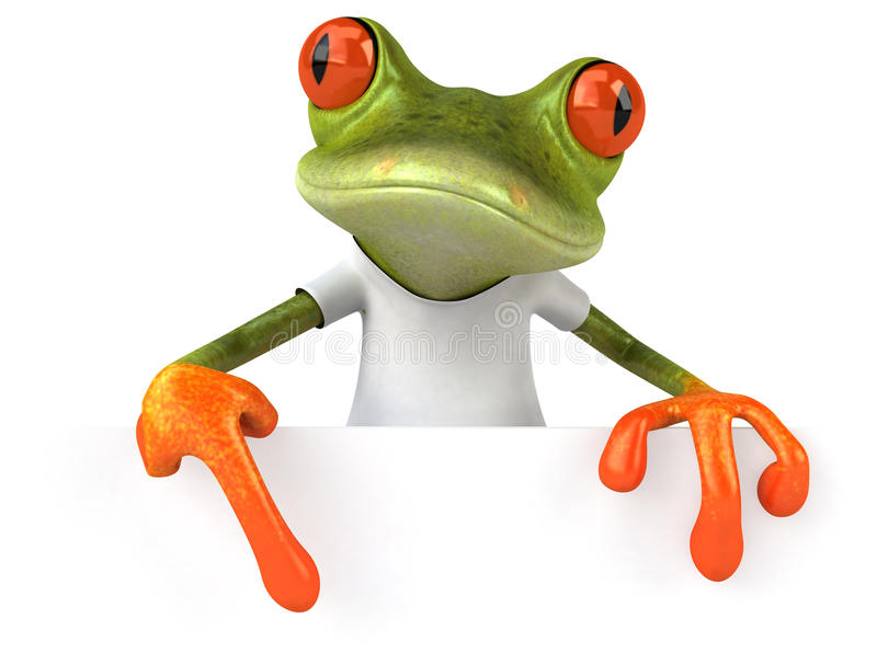 Frog with a white tshirt stock illustration