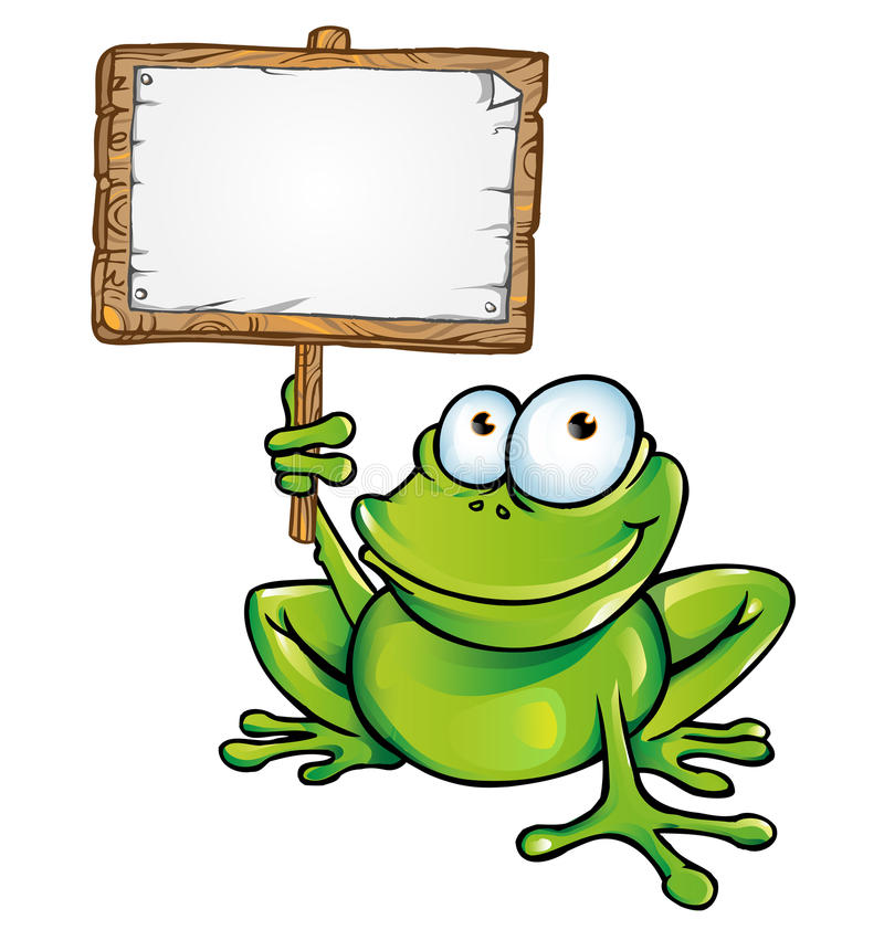 Free Frog With Signboard Stock Photos - 29828463