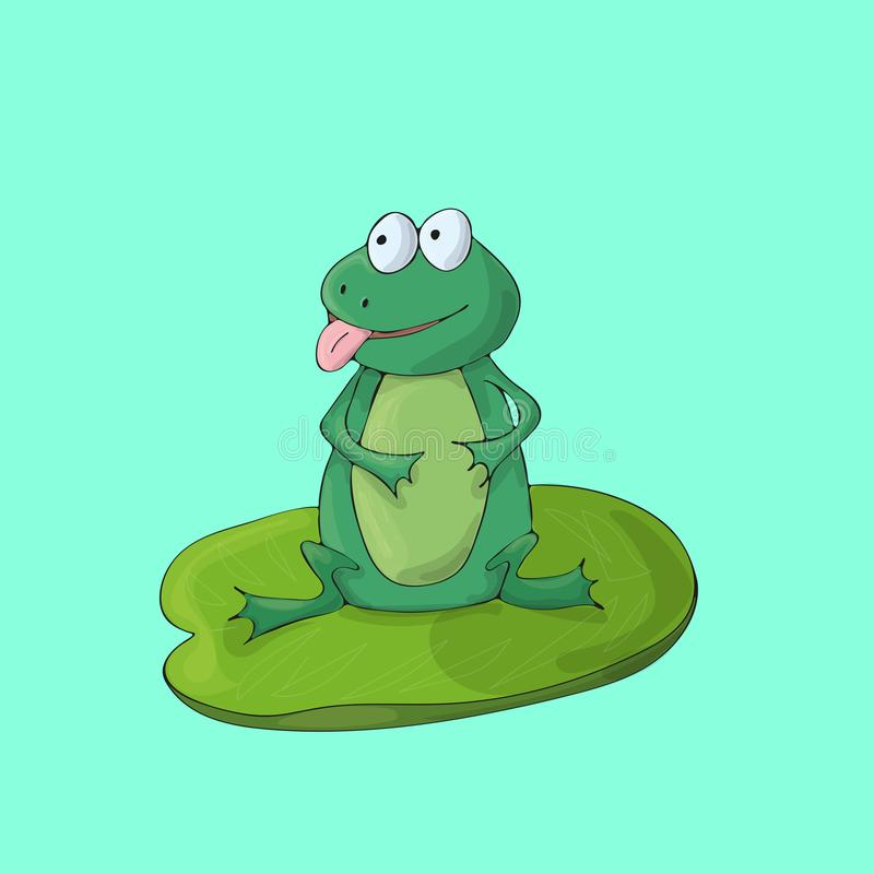 Frogcute на зеленой предпосылке r иллюстрация штока