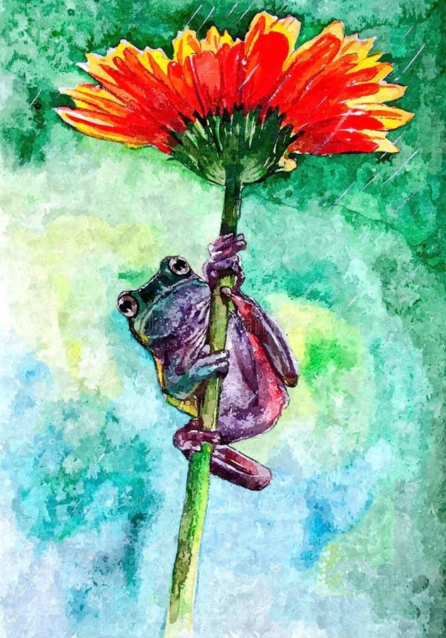 Frogling y flor Acuarela mojada de pintura en el papel Arte ingenuo Acuarela del dibujo en el papel stock de ilustración