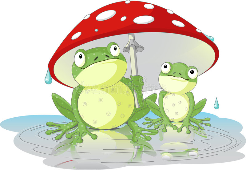 Frogs. Two frogs wearing rain gear under mushroom stock illustration