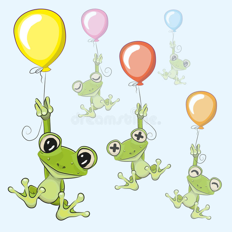 Frogs with balloon stock illustration