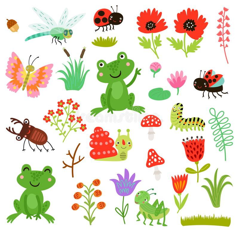 Free Frogs Beetles And Flowers Royalty Free Stock Photos - 140463608