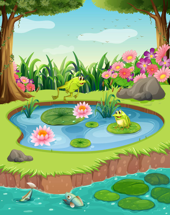 Frogs and fish in the pond royalty free illustration