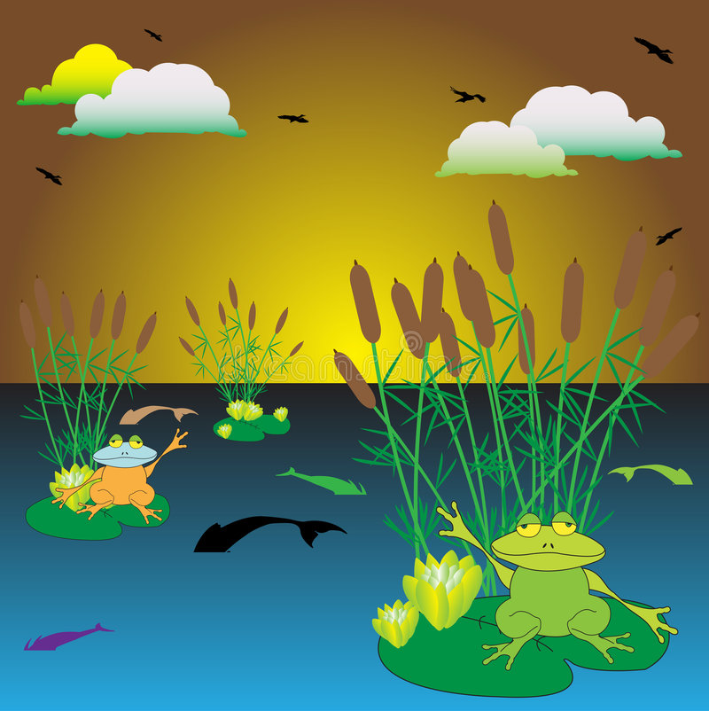 Frogs on the lake. Abstract colorful background with clouds, cane, birds flying, fishes swimming in the lake, and frogs sitting on water lilies