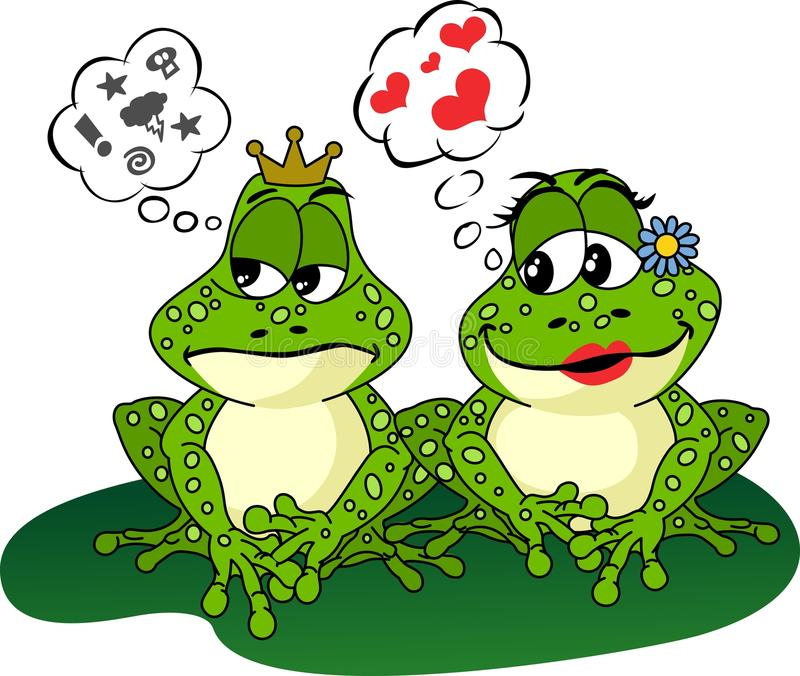 Frogs Love and Anger stock illustration