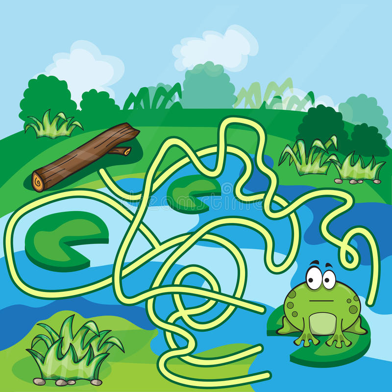 Frogs Maze Game. Help the Frog to find his way - vector vector illustration