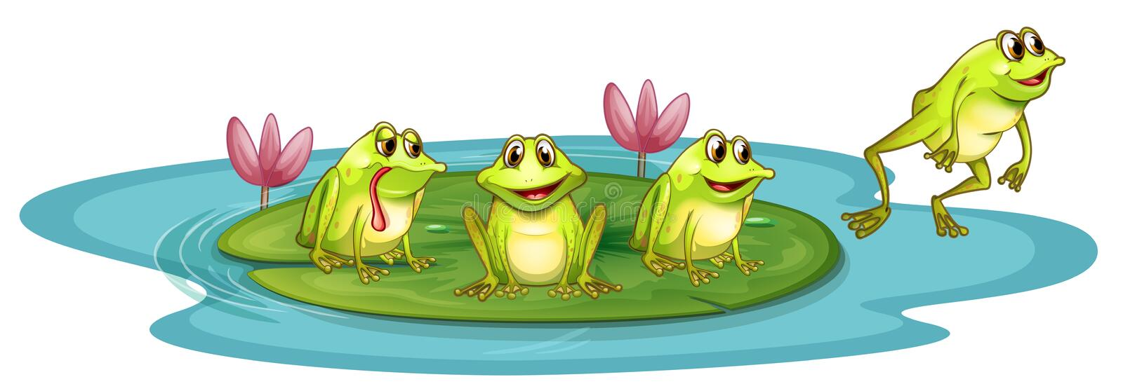 Frogs in the pond. Illustration of the frogs in the pond on a white background royalty free illustration