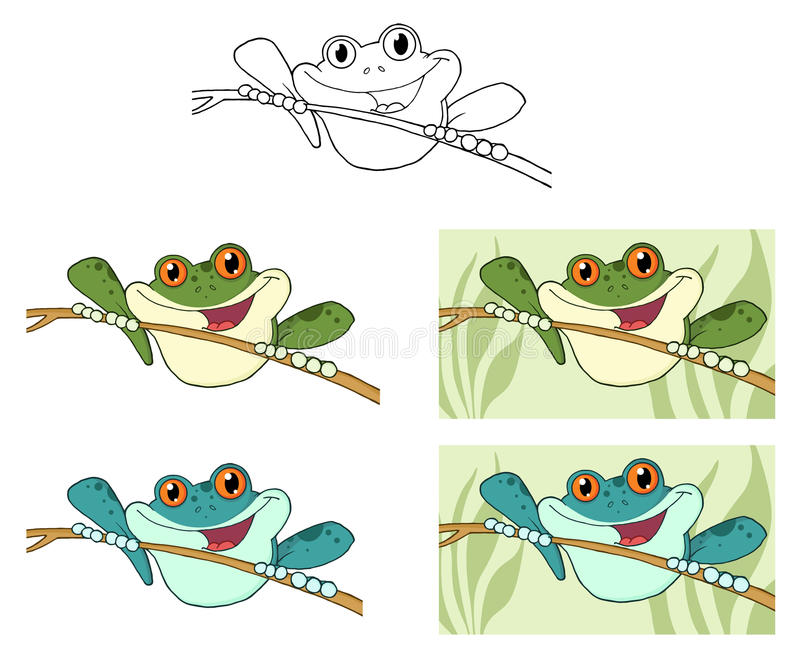 Download Frogs on sticks stock vector. Image of tree, branch, illustrate - 20422278