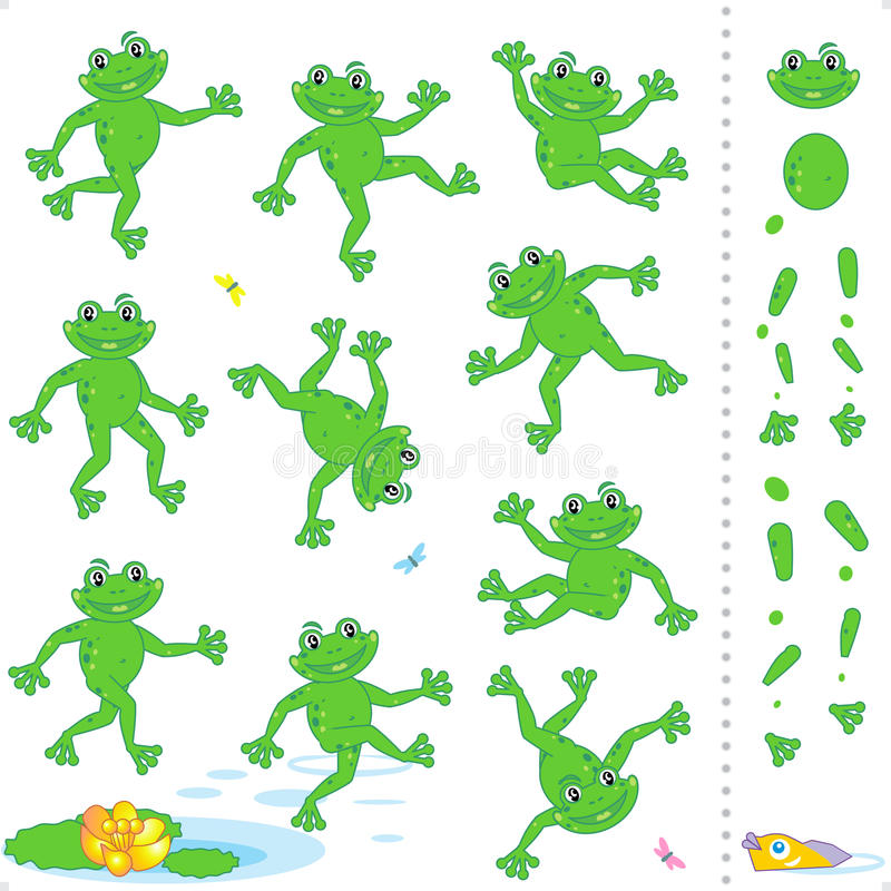 Frogs Or Toads Cartoon Characters Stock Images