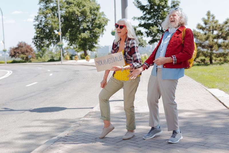 Frohe ältere Menschen Lachen stockbilder
