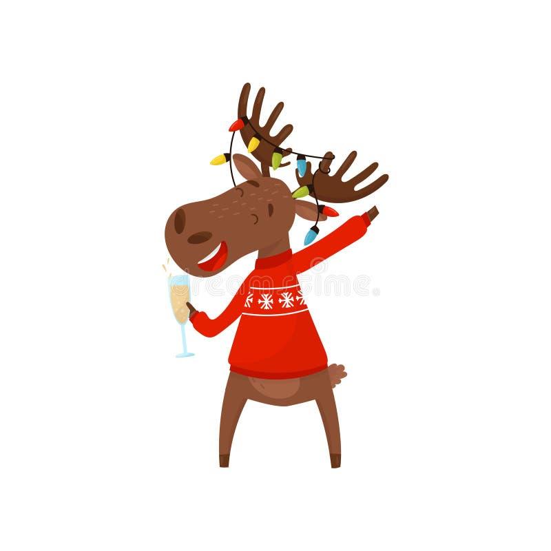 Frohe eurasische Elche, die Glas Champagner halten Elche, die Weihnachten und neues Jahr feiern Tier in der Feiertagsstrickjacke  lizenzfreie abbildung
