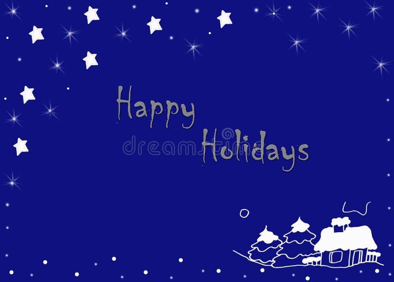 Frohe Feiertage blaue Grußkarte lizenzfreies stockfoto