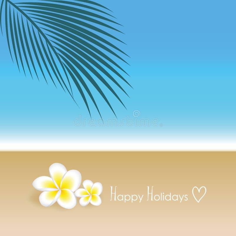 Frohe Feiertage exotische Blumen und Palmblatt des Frangipani auf schönem Strandsommerhintergrund vektor abbildung