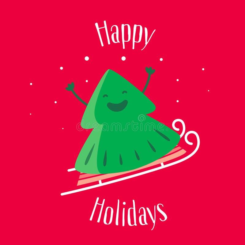 Frohe Feiertage Grußkarte mit Spaß Weihnachtsbaum auf Schlitten Vektor stock abbildung