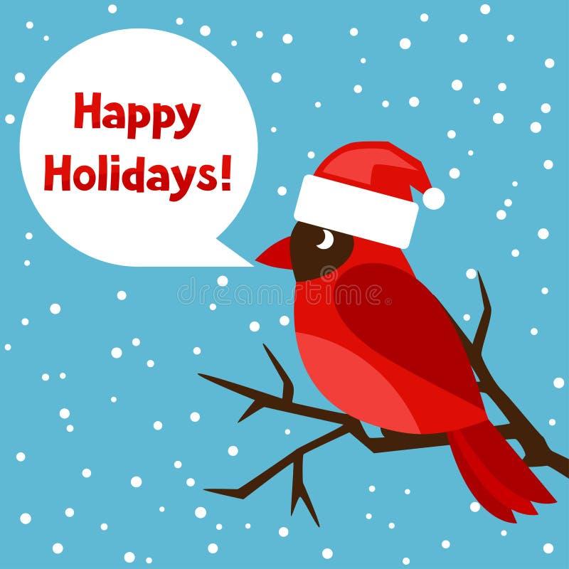 Frohe Feiertage Grußkarte mit Vogelrot lizenzfreie abbildung