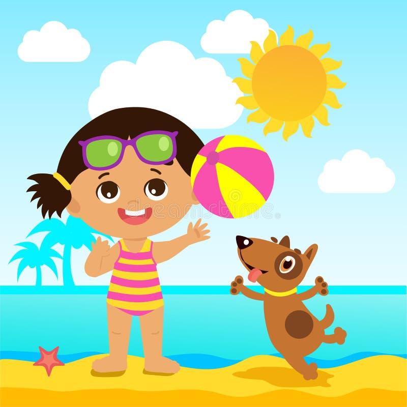 Frohe Feiertage Mädchen, das Ball mit einem Hund spielt Kinderseeferien-Thema vektor abbildung