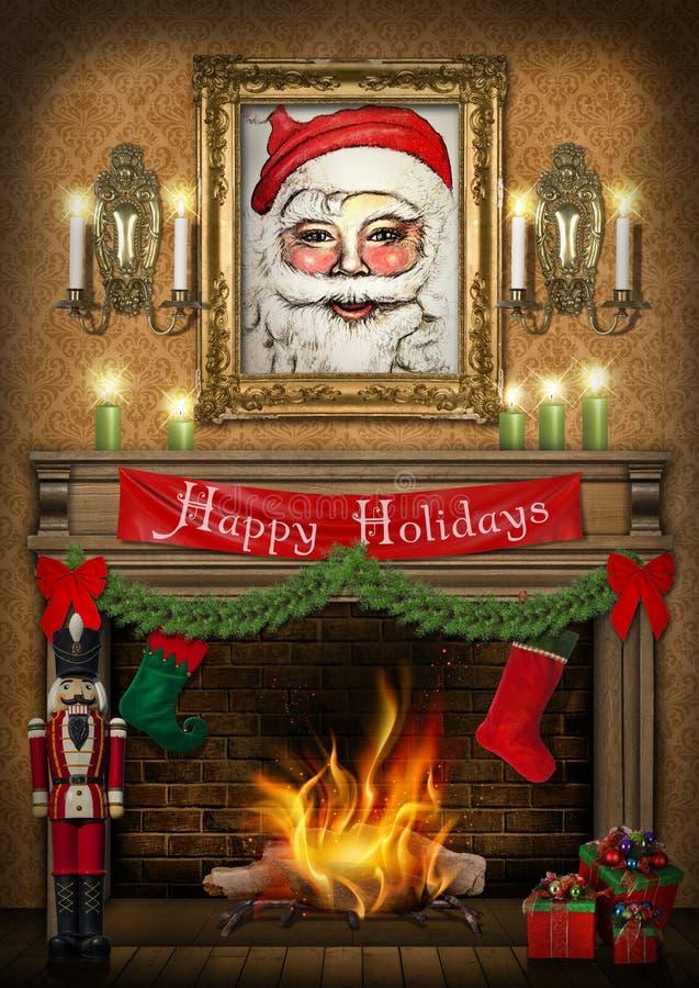 Frohe Feiertage Nussknacker-Kamin-Weihnachtsplakat lizenzfreie abbildung