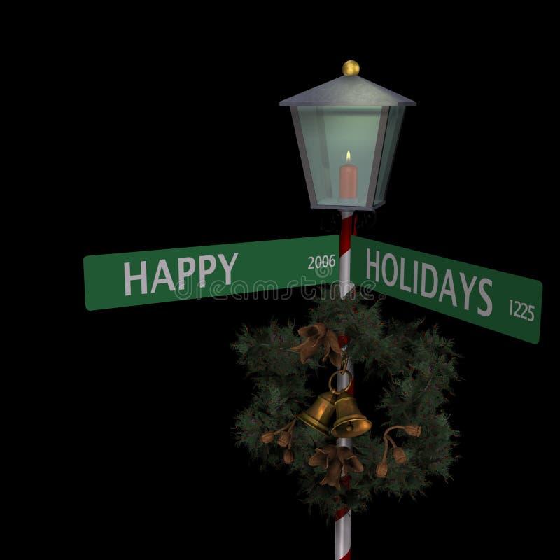 Frohe Feiertage Straßenschild lizenzfreie abbildung