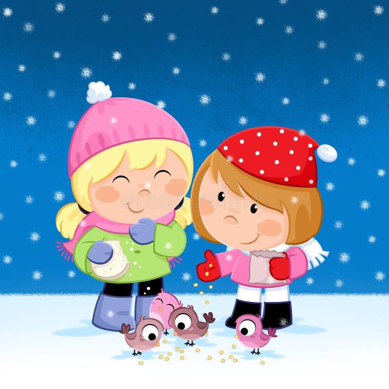 Frohe Feiertage - Weihnachtszeit- Kinder, die Vögel einziehen lizenzfreie abbildung