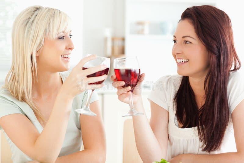 Frohe Frauen, die mit Wein rösten stockbild