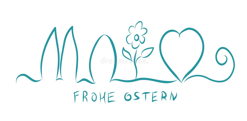 frohe ostern Счастливая пасха на немце Знамя иллюстрации вектора Яйцо, сердце, зайчик бесплатная иллюстрация
