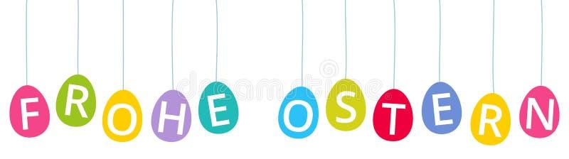 FROHE OSTERN, allemand pour Joyeuses Pâques, oeufs de pâques colorés, chacun suspendu dans un fil illustration libre de droits