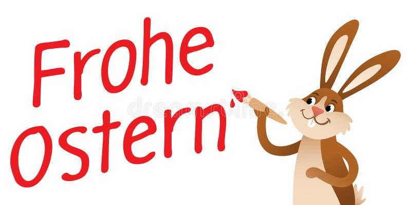 FROHE OSTERN som är tysk för den lyckliga påsken, tecknad filmpåskkanin med målarfärgborsten, röd handstil stock illustrationer