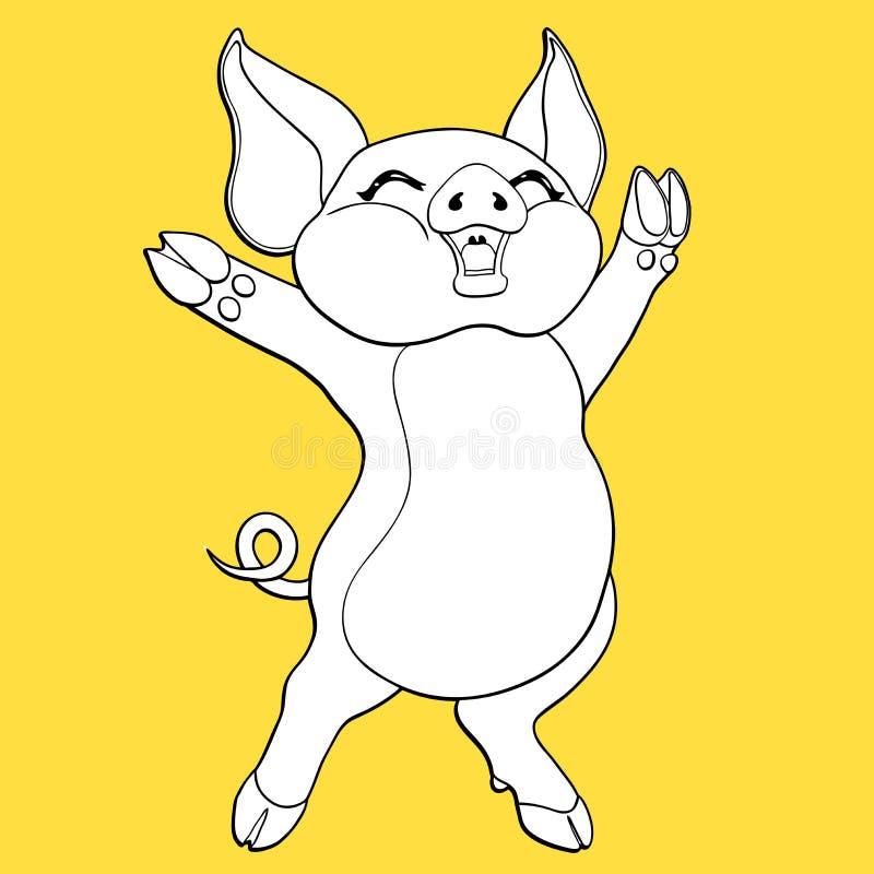 Frohe Schweinkontur auf Gelb lizenzfreie abbildung