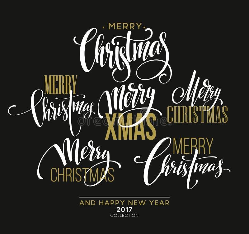Frohe Weihnacht-Briefgestaltungs-Satz Auch im corel abgehobenen Betrag vektor abbildung