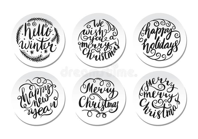 Frohe Weihnacht-Briefgestaltungs-Satz Auch im corel abgehobenen Betrag stock abbildung