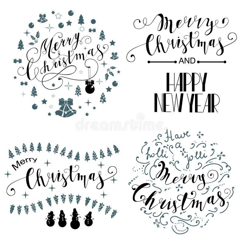 Frohe Weihnacht-Briefgestaltungs-Satz Auch im corel abgehobenen Betrag lizenzfreie abbildung