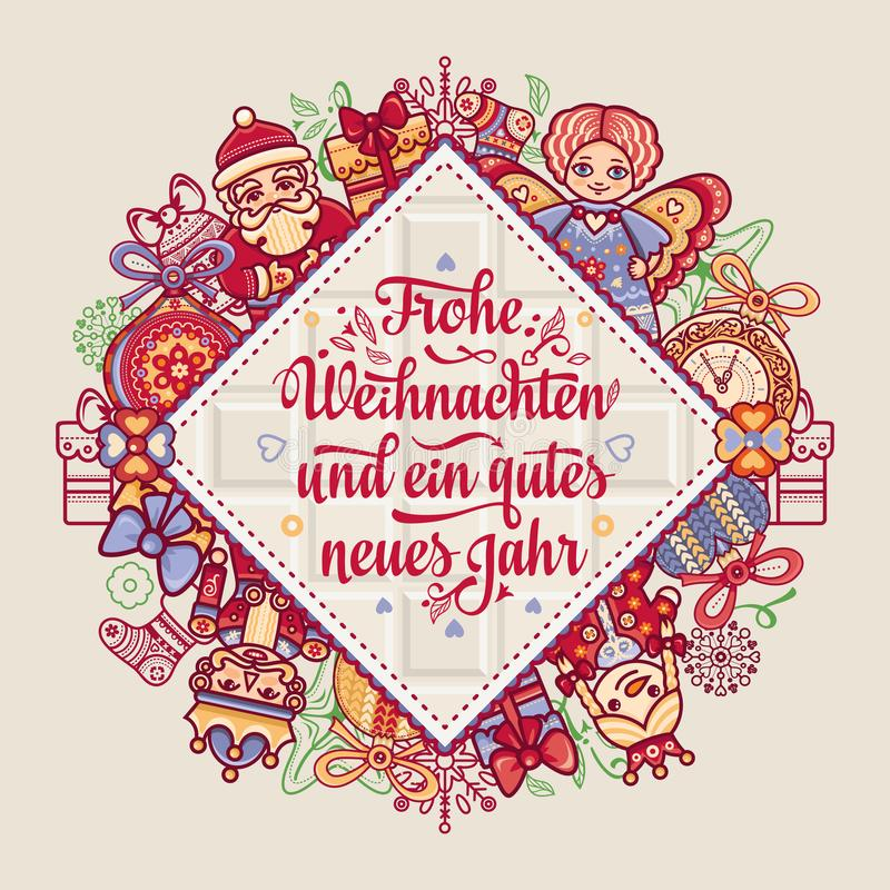 Frohe Weihnacht Enhorabuena de Navidad en Alemania ilustración del vector