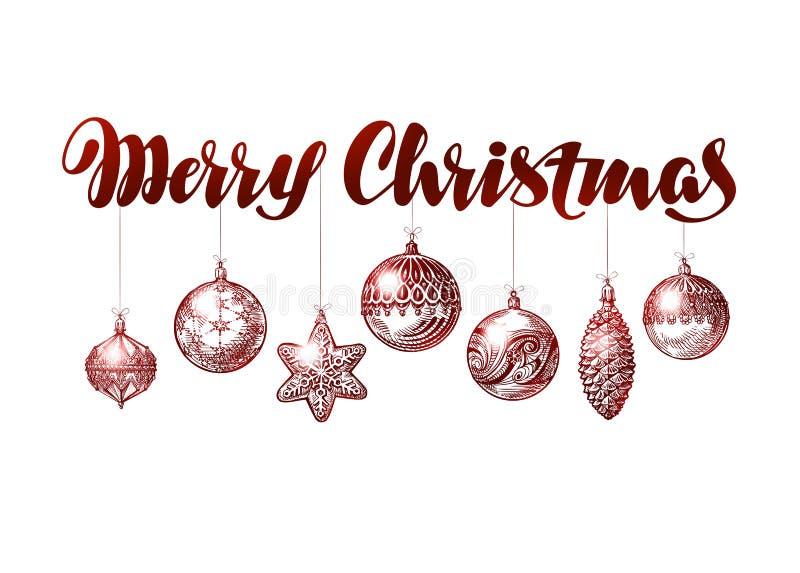 Frohe Weihnacht-Fahne Weinleseweihnachtsdekorationsskizzen-Vektorillustration lizenzfreie abbildung