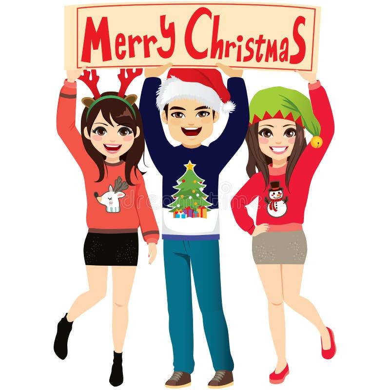 Frohe Weihnacht-Fahnen-Partei-Leute stock abbildung