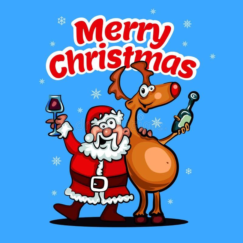 Frohe Weihnacht-glückliches Weihnachtsbegleiter Illustration in der Karikaturart lizenzfreie abbildung
